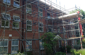 Image of Scaffolding for the renewal and repair of a foor at block of flats in Southampton