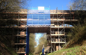 Image of Scaffolding to repair bridge over railway